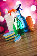 Variety of cleaning products, home work colorful theme