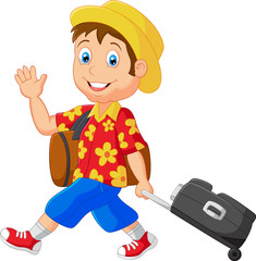 Cartoon man with traveling bag
