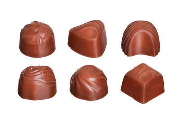 Chocolate candies collection isolated on white background