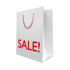 White paper shopping bag with the word SALE! on the side