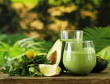 natural drink smoothie with avocado and yogurt