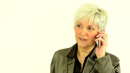 business middle aged woman phone (serious face)