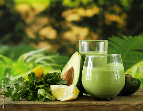 Poster Cocktail natural drink smoothie with avocado and yogurt