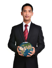 bussiness man hold the earth