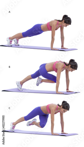 Tuinposter Gymnastiek Plank with knee to elbow