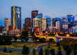 Buildings in Calgary Canada at night