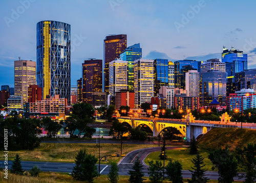 Fototapeta Buildings in Calgary Canada at night