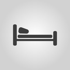 The bed icon. Hotel symbol. Flat