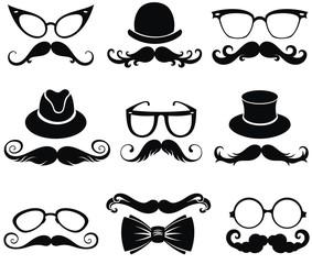 Mustache and gentleman's hats symbol set