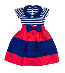 bright baby dress in blue and red stripes on an isolated white b
