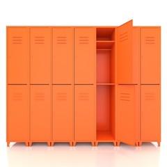 orange empty lockers isolate on white background