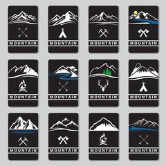 set of twelve mountain cards