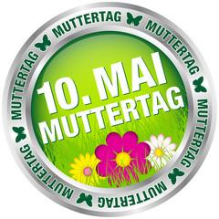 """Button Blumen """"10. Mai Muttertag"""" grün/silber"""