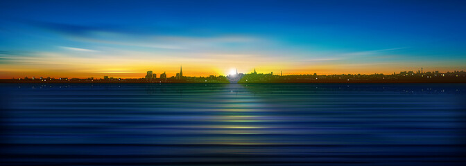 abstract background with silhouette of city