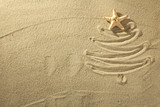 Fototapety Christmass tree from shells on sand background