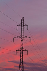 power transmission line and purple sunset