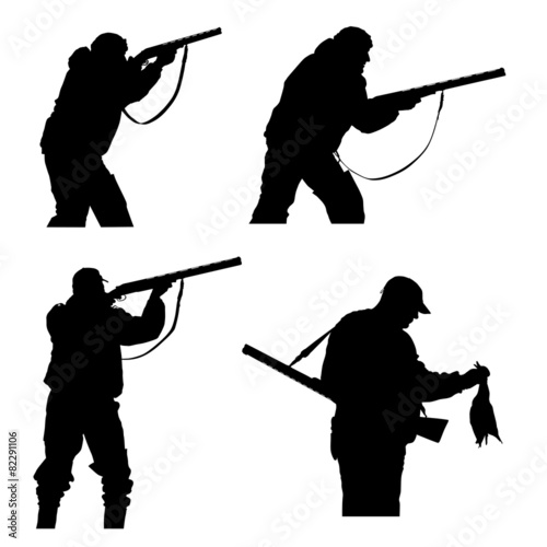 silhouettes of hunters
