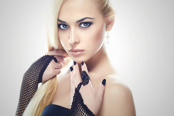 Sexy young Woman. Girl Wearing Gloves