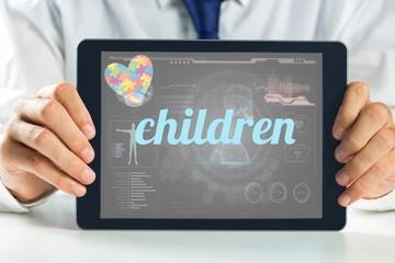 Children against medical biology interface in black
