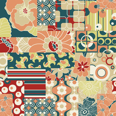 Vector seamless pattern in retro sixties style