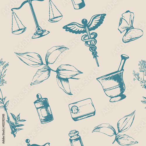 Seamless pattern of hand-drawn elements of pharmacy. Vector. - 82292548