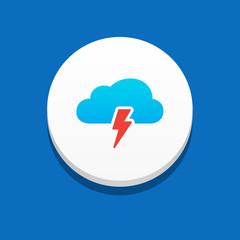 Storm Cloud Icon Blue Background