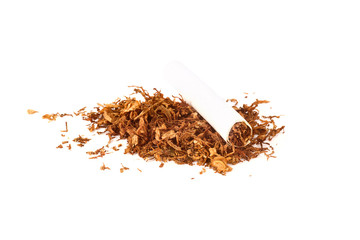Cigarettes and tobacco isolated on white background
