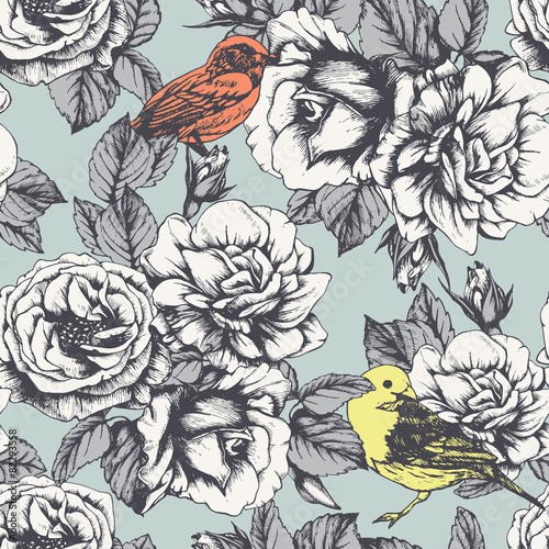 Cotton fabric Seamless floral pattern with hand-drawn roses and birds. Vector