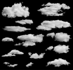 Set of isolated clouds over black. Can be used as speech bubble