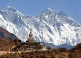 Stupa near Namche Bazar and Mount Everest, Lhotse
