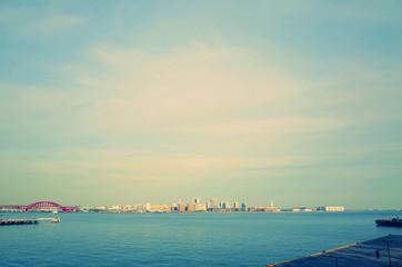 日本の神戸の港からの風景