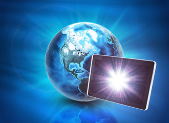Earth and tablet on abstract blue background