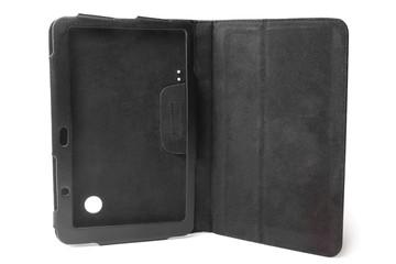 Black leather tablet computer case