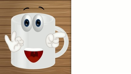 Funny coffee tea cup cartoon illustration comic
