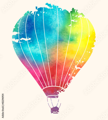 Watercolor vintage hot air balloon.Celebration festive backgroun © ty4ina