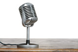 The microphone on the table with isolated background