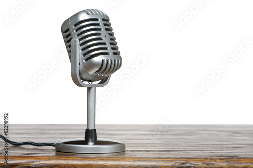The microphone on the table with isolated background - 82298992