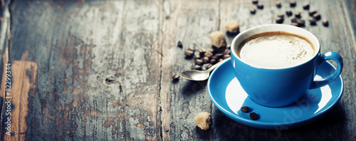 Fotobehang Koffie Blue coffee cup
