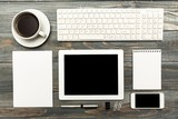 Fototapety Mockup. Workplace with tablet and keyboard, and cactus