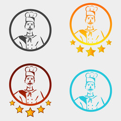 Restaurant chef logo in different colors