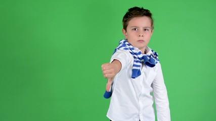 child boy thumb on rejection - green screen - studio