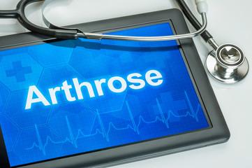 Tablet mit der Diagnose Arthrose auf dem Display