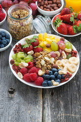 ingredients for a healthy breakfast - berries, fruit, muesli