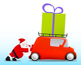 Santa pushing a red mini car with a gift box