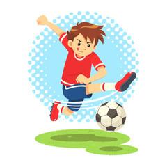 Soccer Boy Shooting The Ball To Make A Goal.