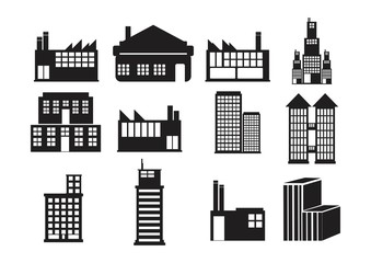 Commercial building Icon Set
