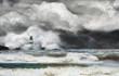 Leinwandbild Motiv Unwetter an der Küste mit Leuchtturm und Brandung