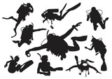 Diving and Snorkeling Silhouette