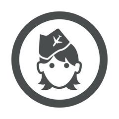 Icono redondo azafata gris