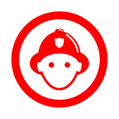 Icono redondo bombero rojo
